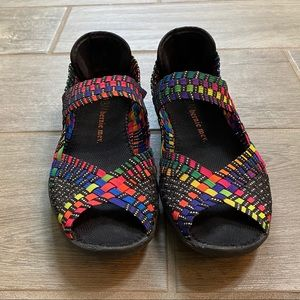 Bernie mev. Colorful woven peep toe shoe size 38